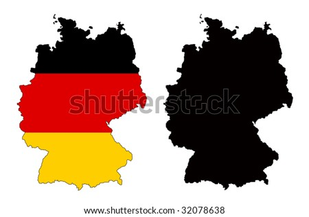 vector map and flag of Germany with white background.