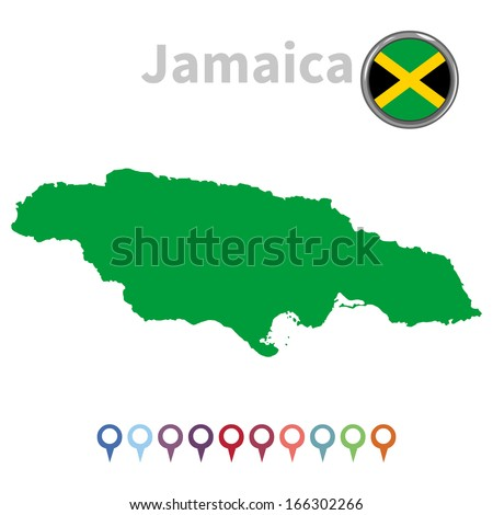 vector map and flag of Jamaica - stock vector