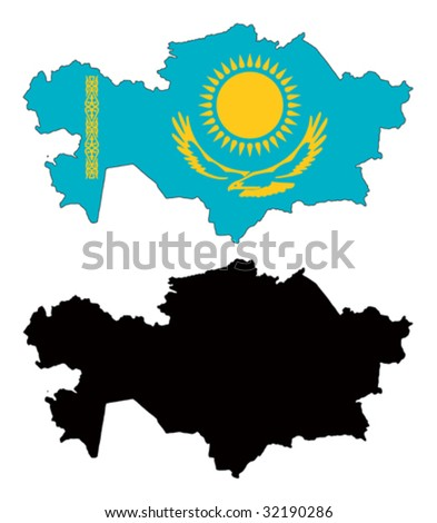 vector map and flag of Kazakhstan with white background. - stock vector