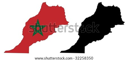 vector map and flag of Morocco with white background.