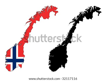 vector map and flag of Norway with white background. - stock vector