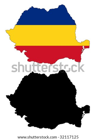 vector map and flag of Romania with white background.