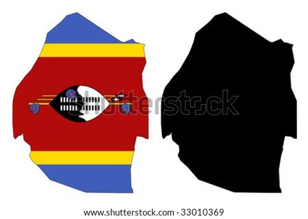 vector map and flag of Swaziland with white background. - stock vector