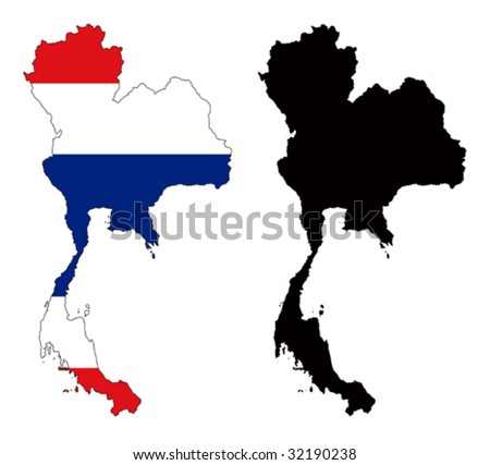 vector map and flag of Thailand with white background. - stock vector