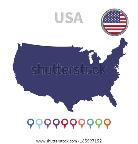 vector map and flag United States of America - stock vector