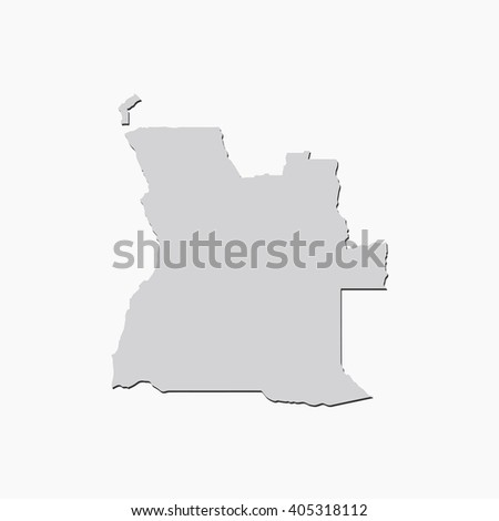 Vector map Angola. Gray Isolated vector Illustration. On Grey background. With shadow. EPS 10 Illustration. - stock vector