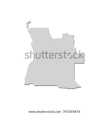 Vector map Angola. Isolated vector Illustration. Gray on White background. With shadow. EPS 10 Illustration. - stock vector