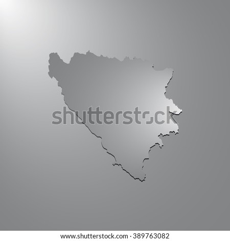 Vector map Bosnia & Herzegovina. Gray background with gradient. Isolated vector Illustration. Gray on Gradient background. With shadow. EPS Illustration. - stock vector
