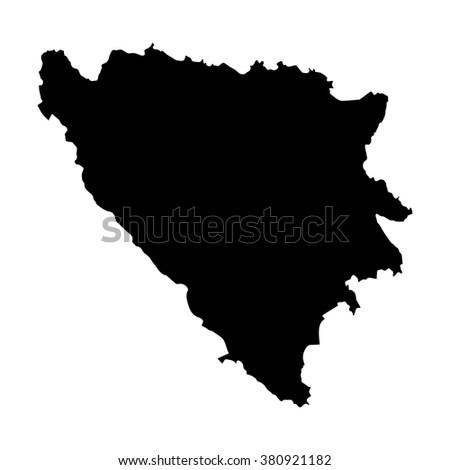 Vector map Bosnia & Herzegovina. Isolated vector Illustration. Black on White background. EPS Illustration. - stock vector