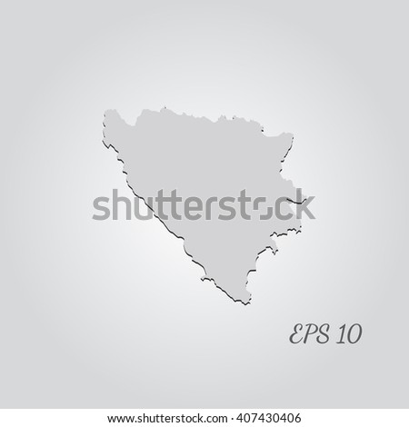 Vector map Bosnia & Herzegovina. Isolated vector Illustration. Gray on Gradient background. With shadow. EPS 10 Illustration with an inscription. - stock vector