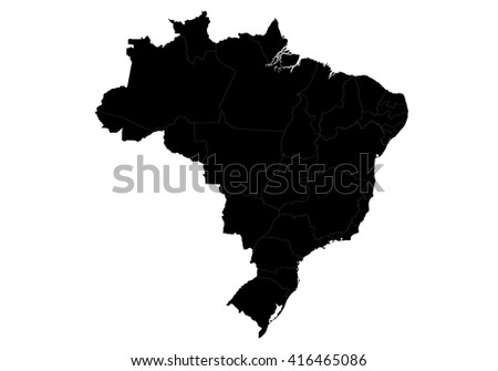 Vector map-brazil country on white background. - stock vector