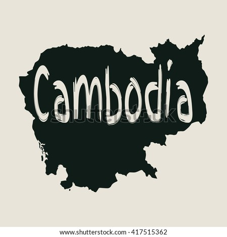 Vector map Cambodia. Gray Isolated vector Illustration. On Beige background. Typography design. EPS 8 Illustration. - stock vector