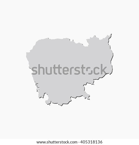 Vector map Cambodia. Gray Isolated vector Illustration. On Grey background. With shadow. EPS 10 Illustration. - stock vector