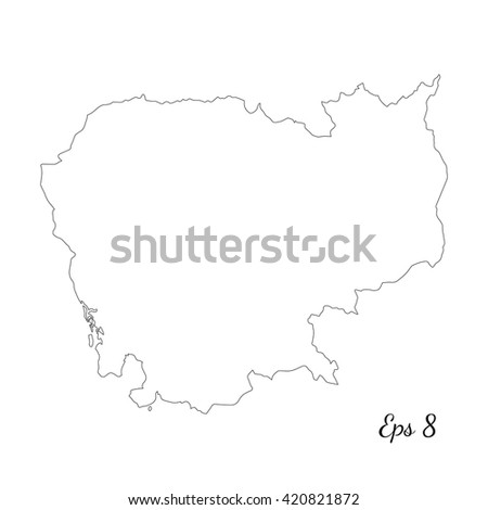 Vector map Cambodia. Outline map. Isolated vector Illustration. Black on White background. EPS 8 Illustration. - stock vector