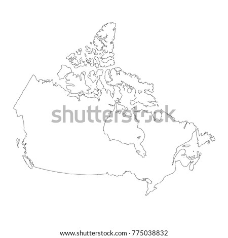 Vector Map Canada Outline Map Isolated Stock Vector 420796141