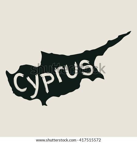 Vector map Cyprus. Gray Isolated vector Illustration. On Beige background. Typography design. EPS 8 Illustration.