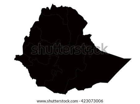 Vector map-ethiopia country on white background. - stock vector