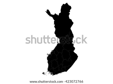 Vector map-finland country on white background. - stock vector