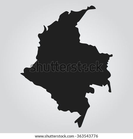 Vector map Gray Colombia. Isolated vector Illustration. Black on Gradient background. EPS Illustration. - stock vector