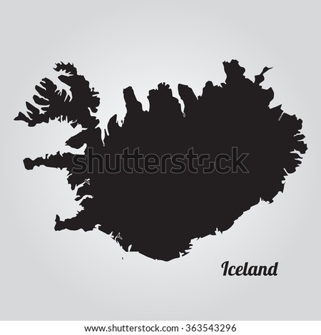 Vector map Iceland Gray Vector Illustration. Isolated vector Illustration. Black on Gradient background. EPS Illustration with an inscription Iceland.