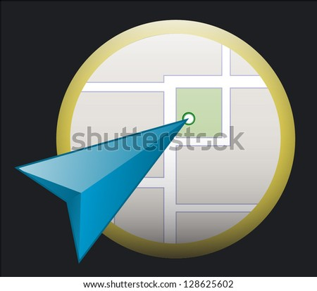 Vector map icon with blue pointer - stock vector