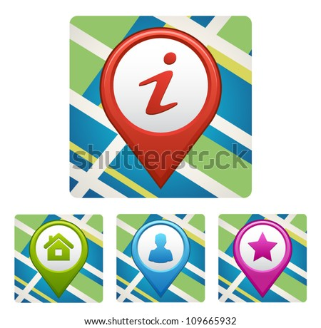Vector map icon with Pin Pointer and different symbols - stock vector