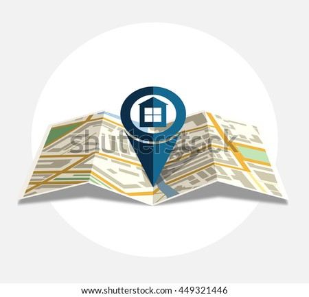 Vector map icon with Pin Pointer Home - stock vector