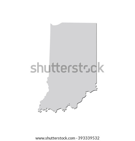 Vector map Indiana. Isolated vector Illustration. Gray on White background. With shadow. EPS 10 Illustration. - stock vector