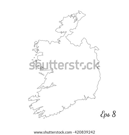 Vector map Ireland. Outline map. Isolated vector Illustration. Black on White background. EPS 8 Illustration. - stock vector