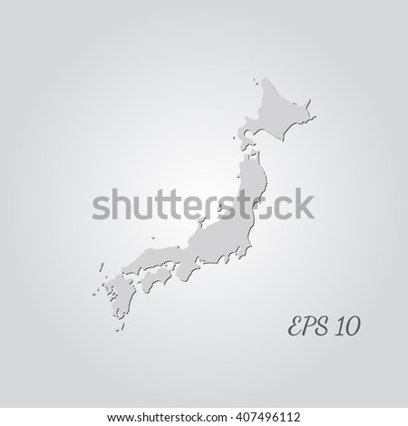 Vector map Japan. Isolated vector Illustration. Gray on Gradient background. With shadow. EPS 10 Illustration with an inscription. - stock vector