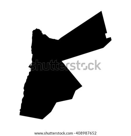 Vector map Jordan. Isolated vector Illustration. Black on White background. EPS 8 Illustration. - stock vector