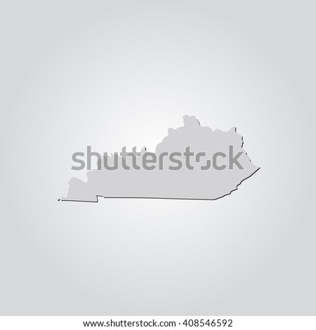 Vector map Kentucky. Isolated vector Illustration. Gray on Gradient background. With shadow. EPS 10 Illustration. - stock vector