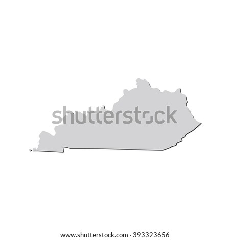 Vector map Kentucky. Isolated vector Illustration. Gray on White background. With shadow. EPS 10 Illustration. - stock vector