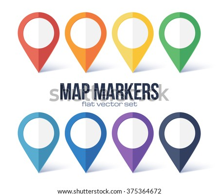 Vector map markers rainbow colors set - stock vector