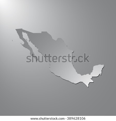 Vector map Mexico. Gray background with gradient. Isolated vector Illustration. Gray on Gradient background. With shadow. EPS Illustration. - stock vector