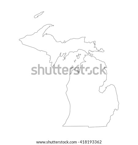 Vector map Michigan. Outline map. Isolated vector Illustration. Black on White background. EPS 8 Illustration. - stock vector