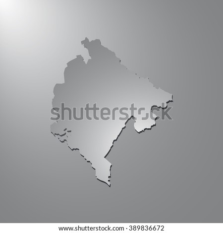 Vector map Montenegro. Gray background with gradient. Isolated vector Illustration. Gray on Gradient background. With shadow. EPS Illustration. - stock vector