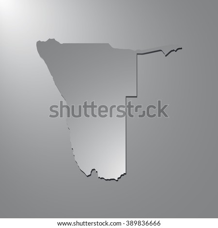 Vector map Namibia. Gray background with gradient. Isolated vector Illustration. Gray on Gradient background. With shadow. EPS Illustration.