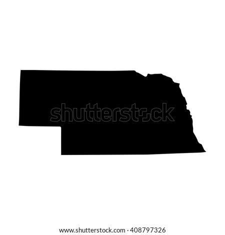 Vector map Nebraska. Isolated vector Illustration. Black on White background. EPS 8 Illustration. - stock vector