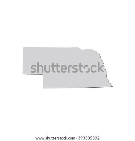 Vector map Nebraska. Isolated vector Illustration. Gray on White background. With shadow. EPS 10 Illustration. - stock vector
