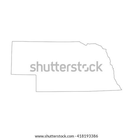 Vector map Nebraska. Outline map. Isolated vector Illustration. Black on White background. EPS 8 Illustration. - stock vector