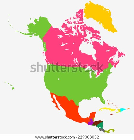 vector map - North America  - stock vector