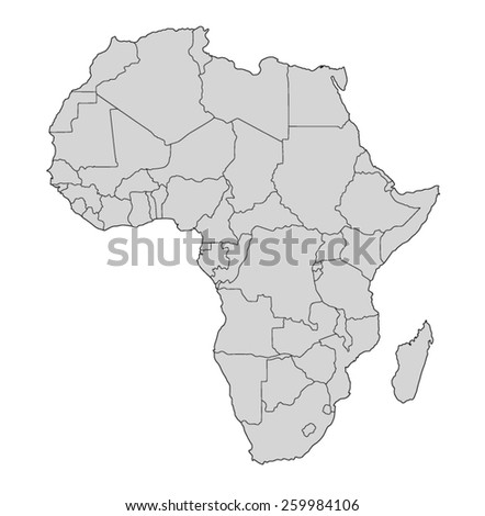 Vector map of Africa on white background - stock vector