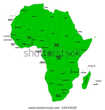Vector map of Africa with color editable countries