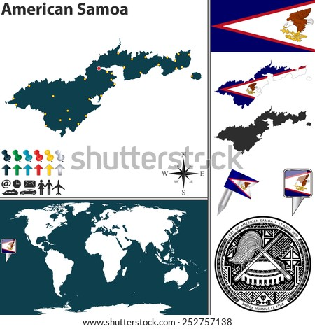 vector map of american samoa with coat of arms and location on world map