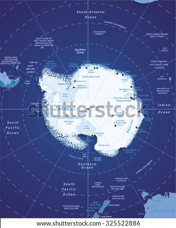 Vector Map of Antarctica - stock vector