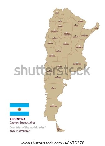 Vector map of Argentina - stock vector