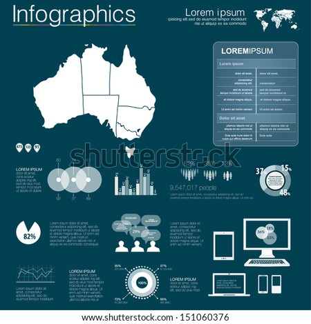 Vector map of Australia, illustration and infographics design template. flat modern style. Easy to edit country. White infographics - stock vector