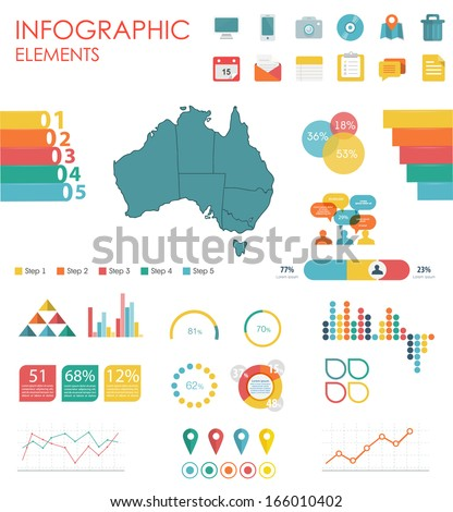 Vector map of Australia, illustration and infographics design template. flat modern style. Easy to edit country.  - stock vector