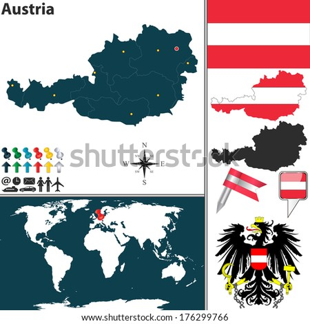 Vector map of Austria with regions, coat of arms and location on world map - stock vector